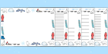 Winter Page Borders - page border, border, frame, writing frame, writing template,winter, snow, christmas, winter borders, writing aid, writing, A4 page, page edge, writing activities, lined page, lined pages