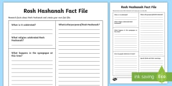 KS2 Rosh Hashanah Writing Template - fact file, judaism, jewish festival, new year, special foods, celebration,