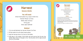 EYFS Harvest Sensory Bottle - Harvest, Harvest Festival, autumn, mouse, mice, animal, find, locate, hidden