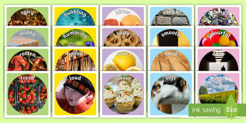 Sensory Words Photo Display Pack - Australia EYLF General, 5 senses, sense, Australia