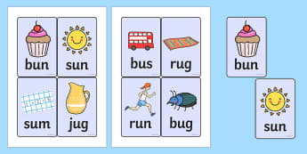CVC Word Cards (u) - CVC, CVC word, three phoneme words, three sound words, consonant vowel consonant, words, three letter words, letters and sounds, DfES letters and sounds