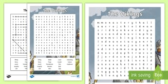 Vikings Word Search - CfE Social Studies resources, people past events and societies, Vikings, history, word search, key w