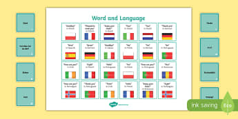 European Day of Languages Word and Language Matching Board Game