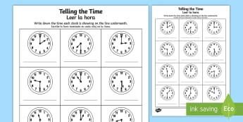 O'clock and Half Past Times Activity Sheet English/Spanish - worksheet, O'clock and Half Past Times Activity Sheet - o'clock, half past, times, activity,Timw,