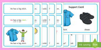 Clothes Simple Sentence Cards - reading, sentences, eyfs, word cards, decoding, tricky words, sound button, phoneme, grapheme, phoni