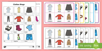 Clothes Themed Bingo -  Bingo, Games,vocabulary, clothes,