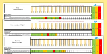 Scottish Curriculum for Excellence Early First Second Literacy and English Assessment Spreadsheet - CfE, planning, tracking, literacy, language, english, Early, First, Second