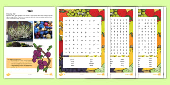 Different Fruit Word Search - Amazing Fact Of The Day, activity sheets, powerpoint, starter, morning activity, January, KS1, word