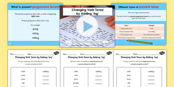 Continuous Actions - Adding -ing Teaching Pack