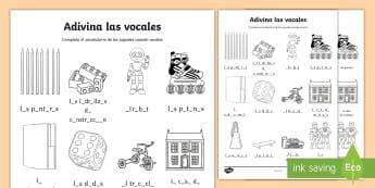 Toys Missing Vowels Spelling Activity Sheet - Spanish, KS2, toys, missing vowels, activity, sheet, worksheet, spelling