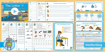 The Journey to Continuous Cursive: The Letter 'r' (One-Armed Robot Family Help Card 7) KS1 Activity Pack - Nelson handwriting, penpals, fluent, joined, legible