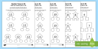 Number Facts to 20 Part Whole Activity Sheet Pack English/Italian - Number Facts to 20 Part Whole Activity Sheets - number facts, 20, part, whole, activity, sheets, wor