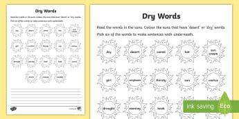 Dry Words Reading Activity Sheet - dry, word identification, reading, worksheet, activity sheet, language,Irish