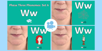 Phase Three Phonemes: Set 6: 'w' Video - Phonics, Letters and Sounds, Grapheme, pronunciation, j,v,w,x