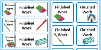 Finished Work Labels - tray, area, to do, homework, sign