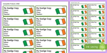 Pupil Gaeilge Copybook Labels-Irish