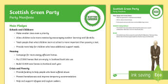 Scottish Green Party 2017 Manifesto Child Friendly Guide - Elections, politics, politicians, Scottish, government, Holyrood, voting, child friendly language, s