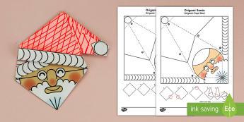 Simple Origami Christmas Santa Paper Craft English/Spanish - 3D paper craft, paper craft, Santa, Father Christmas, decoration, christmas decorations, EAL,