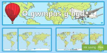 Pecyn Arddangosfa Wobrwyo O Amgylch y Byd - Adnoddau Arddangos, General Displays, welsh displays, welsh display, new display, maths, english, re