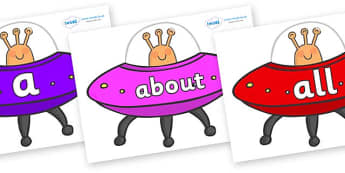 100 High Frequency Words on Spaceships - High frequency words, hfw, DfES Letters and Sounds, Letters and Sounds, display words