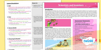 PlanIt - Science Year 1 - Scientists and Inventors Planning Overview - planit, science, year 1, scientists and inventors, planning overview, plan, overview