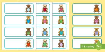 Teddy Bear Themed Editable Drawer, Peg, Name Labels - Editable Teddy Bear, Teddy Bear, Teddy Bears, Alphabet frieze, Display posters activity, aplhabet, a