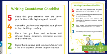 Year 2 Space-Themed Writing Countdown Checklist - Back to Earth with a Bump, space, planets, night and day, dark, sun, Mars, moon, stories, picture bo
