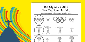 Rio Olympics 2016 Size Matching Worksheets - rio 2016, rio olympics, rio olympics 2016, 2016 olympics, size matching, worksheets
