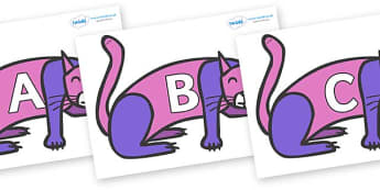 A-Z Alphabet on Purple Cat to Support Teaching on Brown Bear, Brown Bear - A-Z, A4, display, Alphabet frieze, Display letters, Letter posters, A-Z letters, Alphabet flashcards