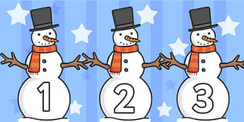 Numbers 0-30 on Snowmen - Christmas, xmas, snowman, advent, nativity, santa, father christmas, Jesus, tree, stocking, present, activity, cracker, angel, snowman, advent , bauble, Foundation Numeracy, Number recognition, Number flashcards, 0-30, A4, n