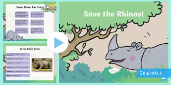 Save The Rhinos Persuasive Writing PowerPoint - Children's Books, Ronald the Rhino, children's book, rhyme, story, text, rhyming couplets, syllabl