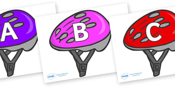 A-Z Alphabet on Bike Helmets (Multicolour) - A-Z, A4, display, Alphabet frieze, Display letters, Letter posters, A-Z letters, Alphabet flashcards