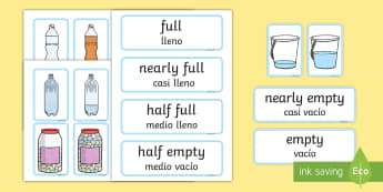 Capacity EYFS Matching Cards English/Spanish - Capacity Matching Cards EYFS - capacity, maths, numeracy, matching cards, match, cards, eyfs, capact