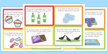 Subtraction Word Problem Challenge Cards - australia, subtraction