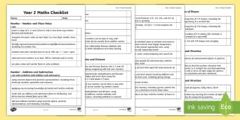 Year 2 Maths Assessment I Can Statements Checklist - 2014 Curriculum Year 2 Maths Assessment Checklist - numeracy, ks1, maths assessemnt, sats, numracy,