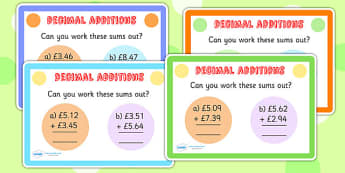 Decimals Additions Maths Challenge Cards - decimals, add, maths