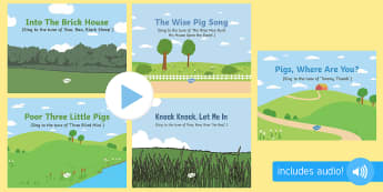 The Three Little Pigs Songs and Rhymes PowerPoints Pack