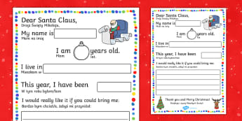 Letter to Santa Cloze Procedure English/Polish - Letter to Santa Cloze Procedure Writing Template - santa, letter, christmas, cloze, father christmas
