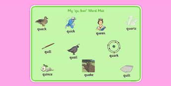 QU Word Mat - speech sounds, phonology, articulation, speech therapy, cluster reduction