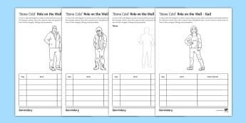 Role on the Wall Activity Sheet to Support Teaching On 'Stone Cold' by Robert Swindells - Stone Cold, Robert Swindells, Characterisation, Quotes, Link, Shelter, Gail, Ginger, worksheet
