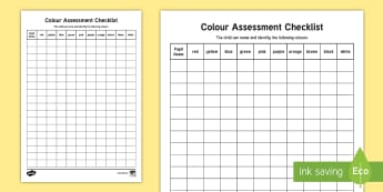 Colour Assessment Checklist - Back to School, Junior Infants,  EMA,art, sort, match, rainbow,Irish