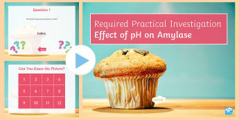 Required Practical Investigation Effect of pH Quiz PowerPoint  - PowerPoint Quiz, Enzyme, Temperature, pH, Active Site, Substrate, Amylase, Sugars, Starch, Iodine, R