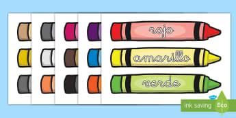 Palabras temáticas: Los colores en ceras - colores en ceras, ceras, cera, colores, color, rojo, amarillo, azul, verde, púrpura, purpura, lila