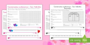 Ficha de actividad de atención a la diversidad: Coordenadas cartesianas - San Valentín - coordenadas, matemáticas, geometría, figuras, plano, puntos