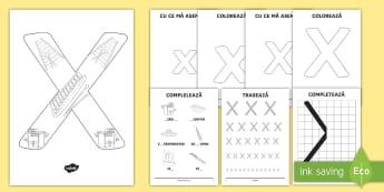 Consolidarea literei X Broșură - alfabetul, alfabetar, litere, sunete, grafisme,Romanian
