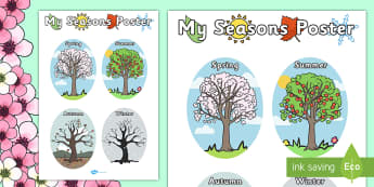 My Seasons Poster - Seasons, season, autumn, winter, spring, summer, fall, seasons activity, seasons display, four seasons, foundation stage, topic