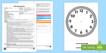 Time to Tidy Clock Activity Adult Input Plan and Resource Pack - EYFS, Early Years planning, Adult Led, Maths, Mathematics, Shape, Space and Measure, Time, Telling t