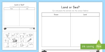 Land and Sea Sorting Activity Sheet - Ocean, Sea, beach, Land, Animals, Sorting, Ocean Sorting, sea sorting, land sorting, activity, works
