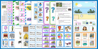Where Question Word LSA Activity Pack - where, question words, narrative therapy, LSA intervention pack, speech and language