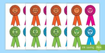 Sports Day Award Rosettes English/Polish - Sports day award rosettes, reward, sports day, award, rosette, certificate, medal, rewards, school r
